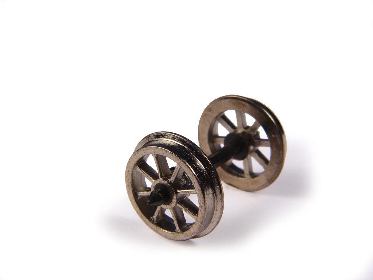 Bachmann 36-014 -10 x (Axles) 12mm dia  Metal Spoked Wagon Wheels Tracked48  Post