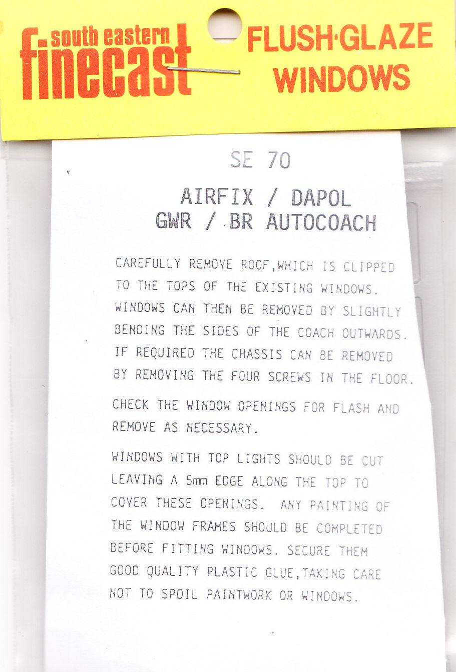 South Eastern Finecast SE60 Flush Glazing Kit for Airfix//Dapol 60/' /& 57/' 00 1st